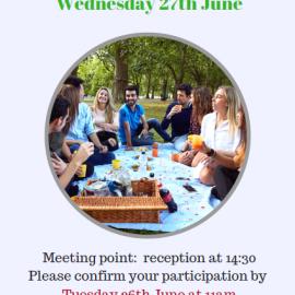 Our next social event: Picnic at Primrose Hill Park