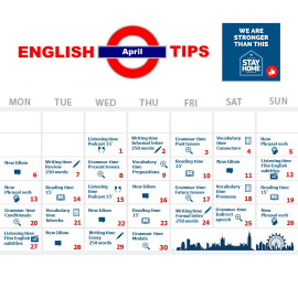 Here you go: your English calendar for April