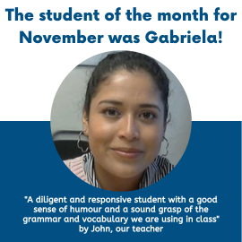 ABC School of English – Gabriela was the student of November!