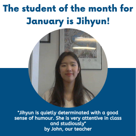 Jihyun Lee was chosen as the student of the month in January!