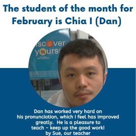 Chia I Wei was chosen as the student of the month in February!